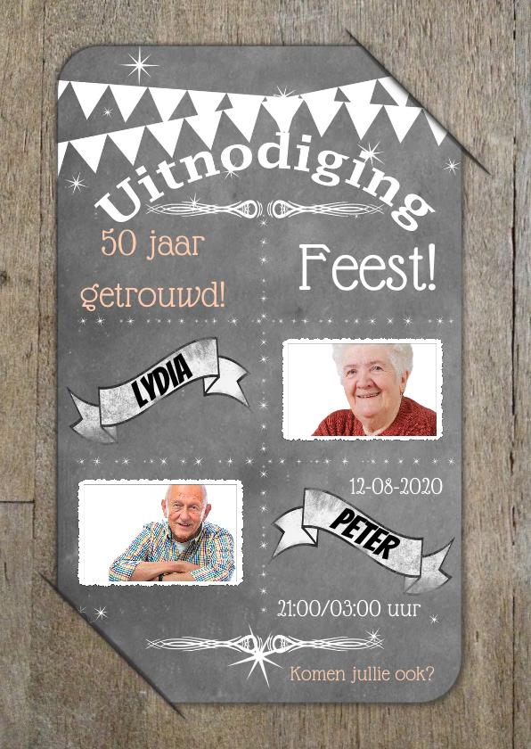 Uitnodigingen - Uitnodiging feest vintage RB