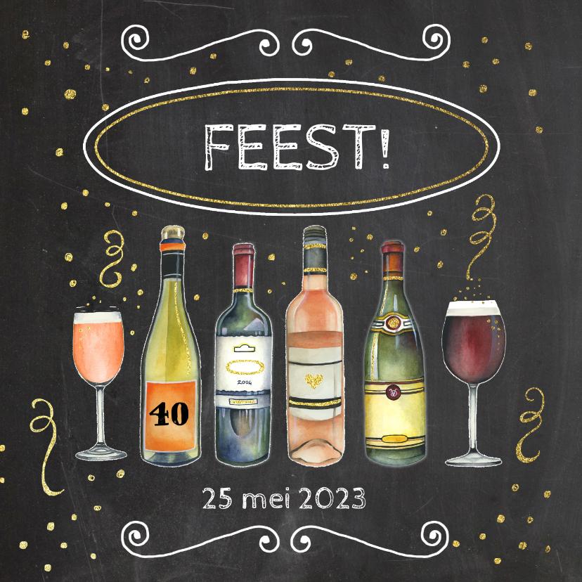 Uitnodigingen - Uitnodiging feest wijn
