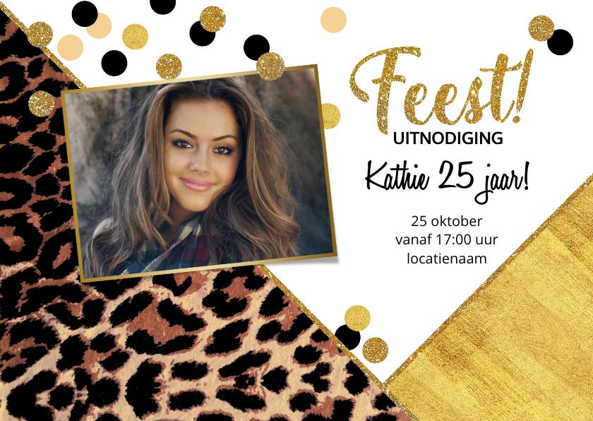 Uitnodigingen - Uitnodiging feestelijke kaart met panterprint en confetti