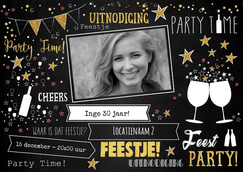 Uitnodigingen - Uitnodiging feestelijke typografische foto kaart