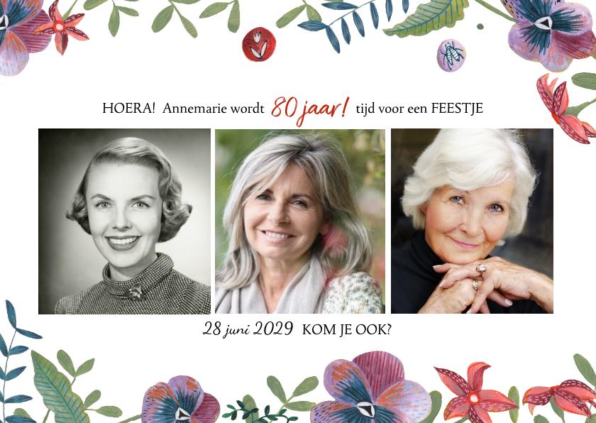 Uitnodigingen - Uitnodiging Feestje Bloemen Botanisch
