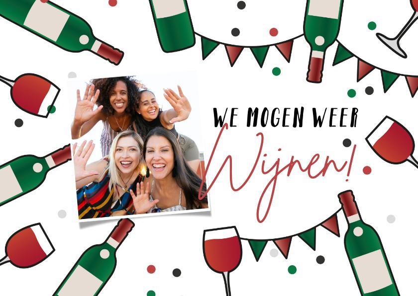 Uitnodigingen - Uitnodiging feestje borrel wijnen cheers we mogen weer