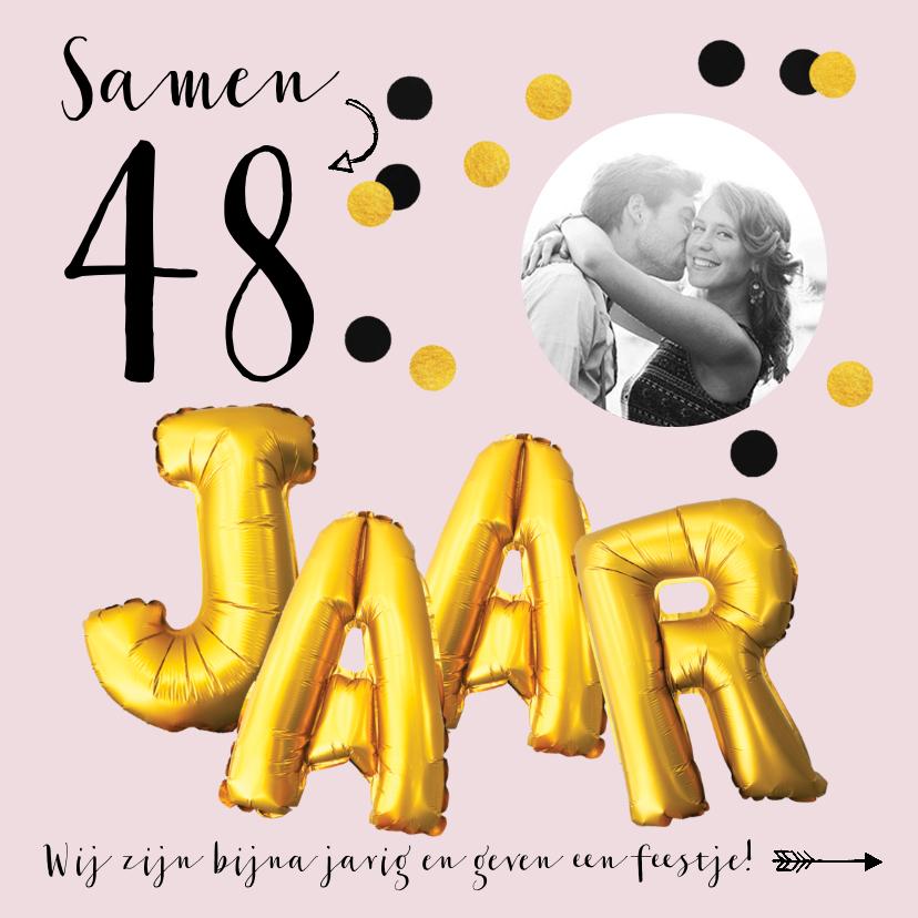 Uitnodigingen - Uitnodiging feestje verjaardag samen leeftijd goud
