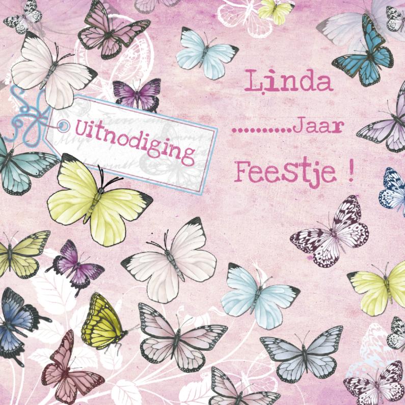 Uitnodigingen - uitnodiging feestje vlinders label