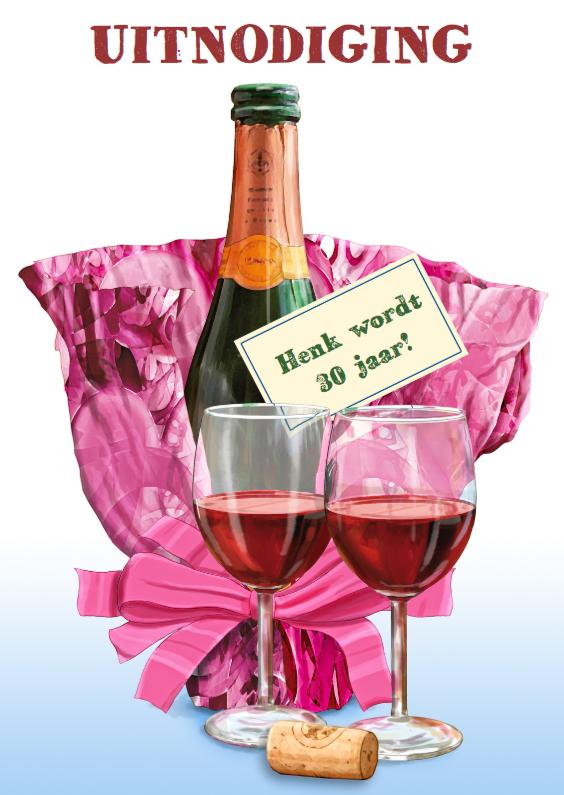 Uitnodigingen - Uitnodiging Feestje wijnglazen 9