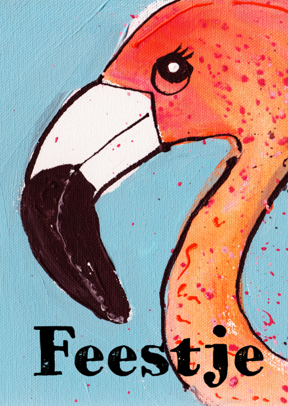 Uitnodigingen - uitnodiging Flamingo