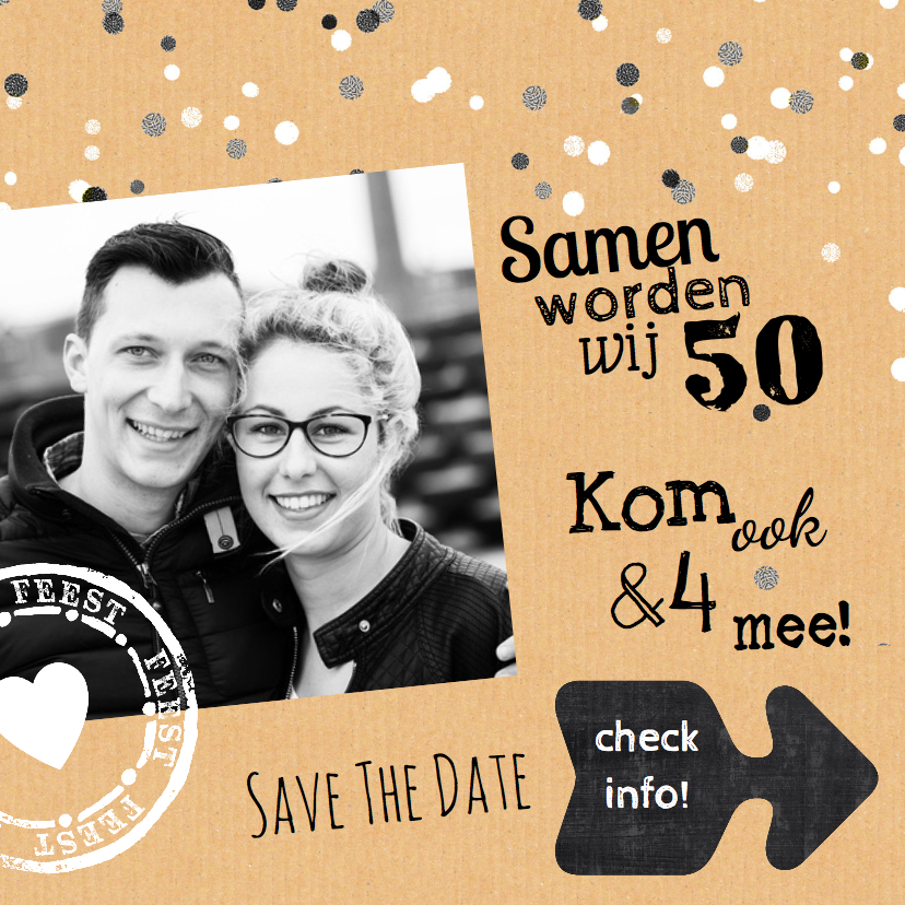 Uitnodigingen - Uitnodiging foto karton zwart