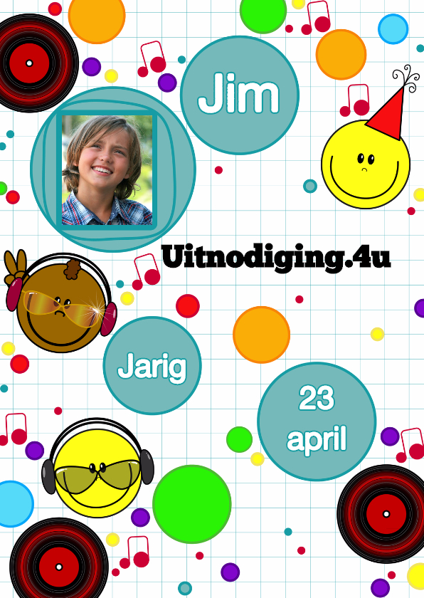 Uitnodigingen - Uitnodiging game smiley foto