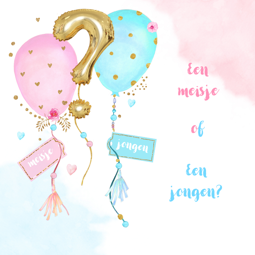 Uitnodigingen - Uitnodiging gender reveal party balonnen