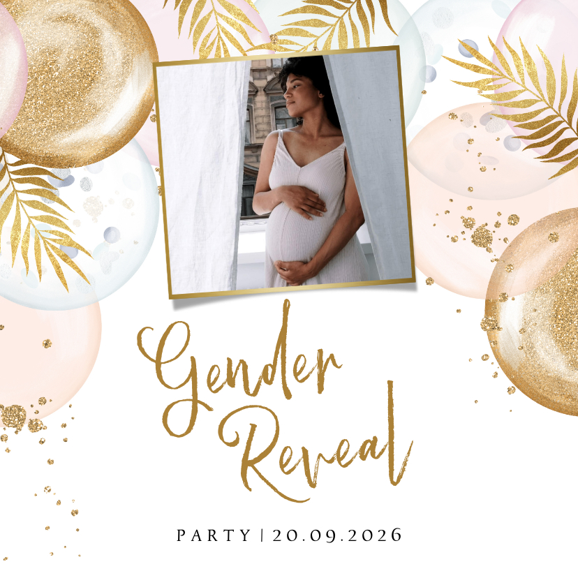 Uitnodigingen - Uitnodiging gender reveal party met ballonnen en goud