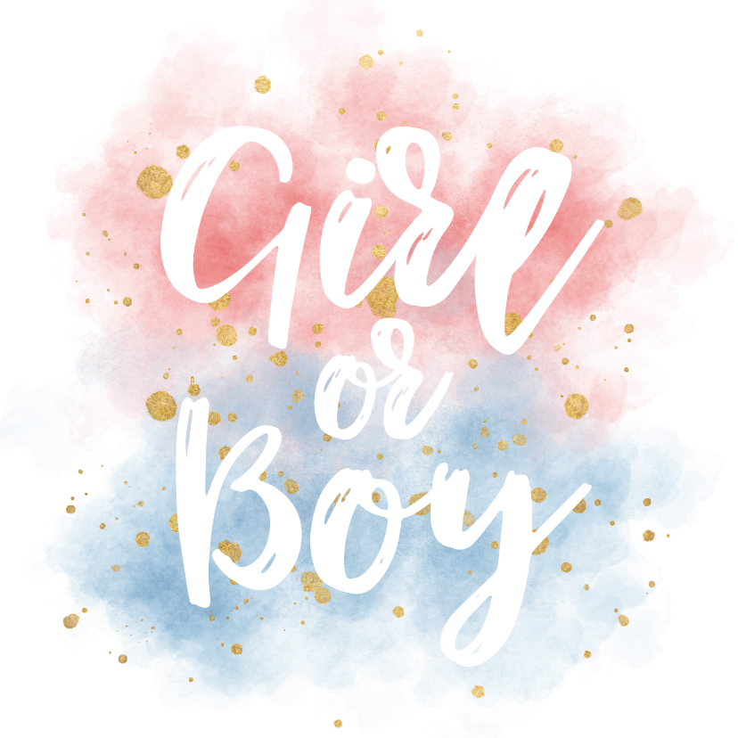 Uitnodigingen - Uitnodiging gender reveal party met gouden confetti