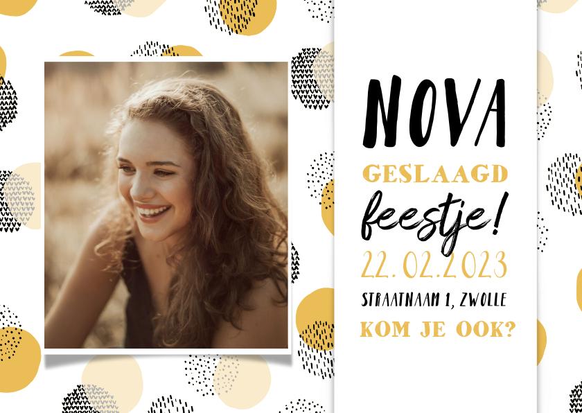 Uitnodigingen - Uitnodiging geslaagd feestje confetti met foto