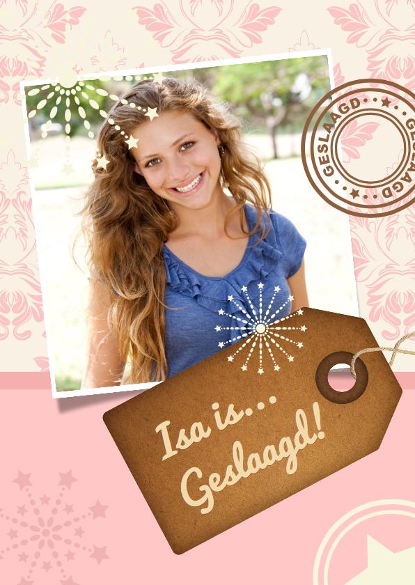 Uitnodigingen - Uitnodiging geslaagd Roze foto