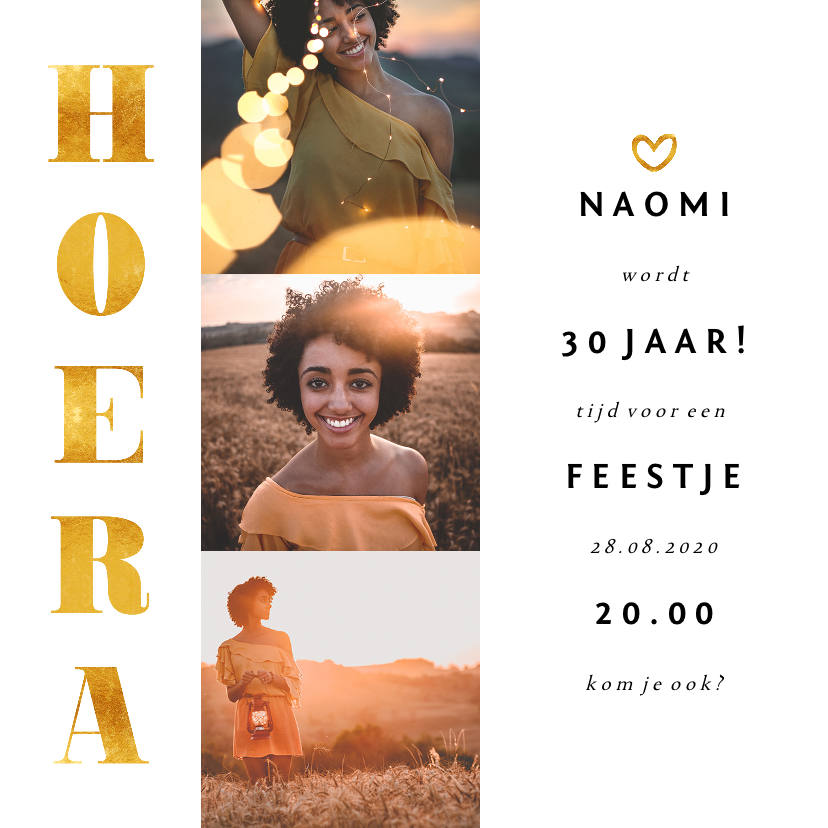 Uitnodigingen - Uitnodiging gouden accenten met foto's vierkant