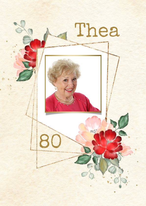 Uitnodigingen - Uitnodiging gouden kaders met rode en roze rozen