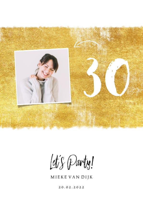 Uitnodigingen - Uitnodiging gouden verfstreep met foto en leeftijd