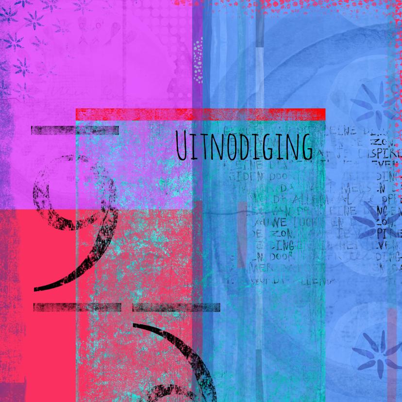 Uitnodigingen - Uitnodiging grunge en kleurrijk