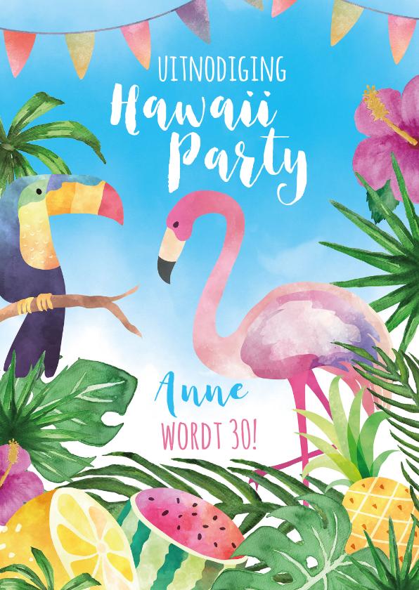 Uitnodigingen - Uitnodiging Hawaii Party