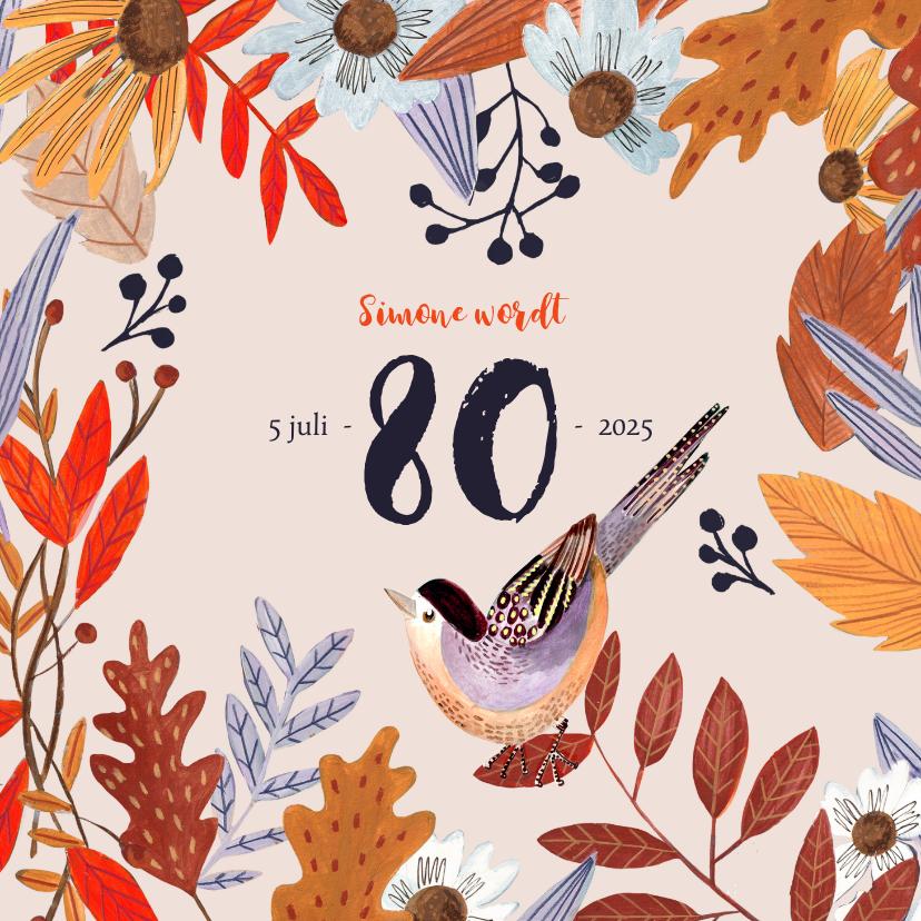 Uitnodigingen - Uitnodiging herfstfeest oranje bladeren
