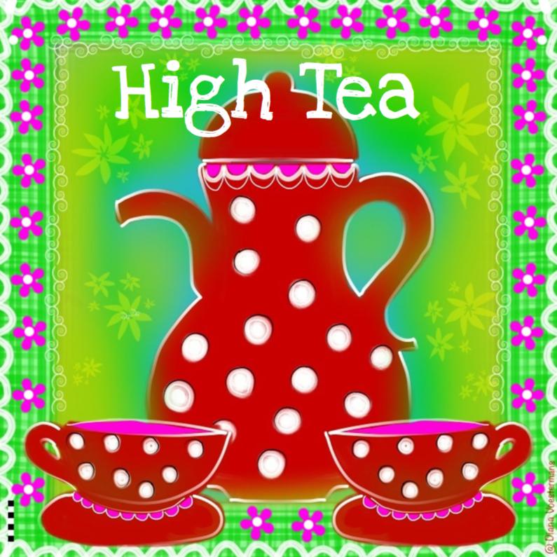 Uitnodigingen - Uitnodiging High Tea kleurrijk