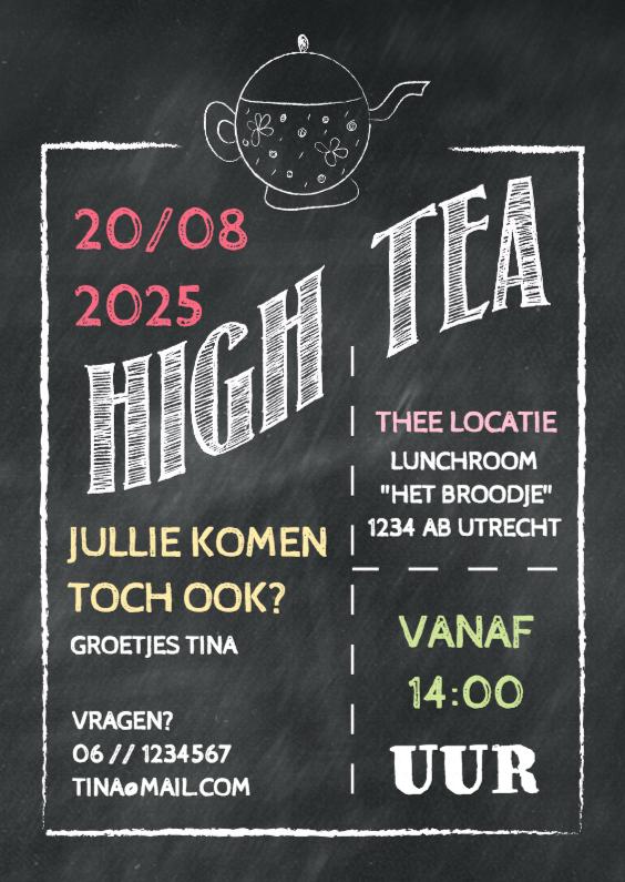 Uitnodigingen - Uitnodiging High Tea krijt - DH