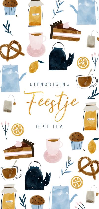 Uitnodigingen - Uitnodiging High Tea langwerpig met vrolijke illustraties