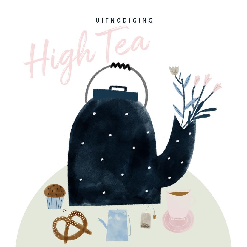 Uitnodigingen - Uitnodiging High Tea met illustratie theepot