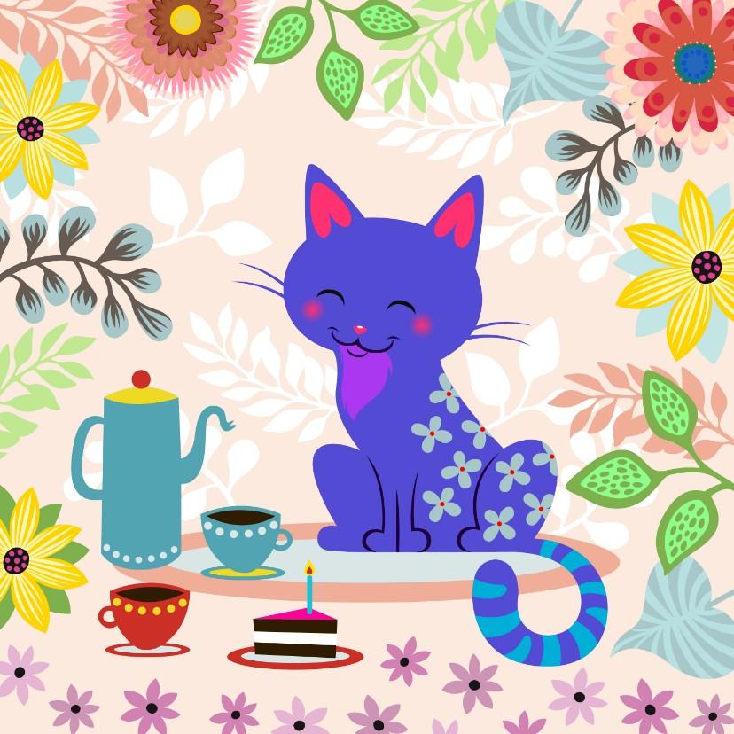 Uitnodigingen - Uitnodiging High Tea met vrolijke kat en bloemen