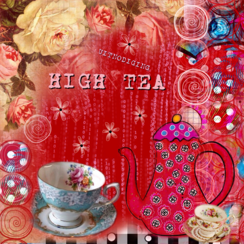 Uitnodigingen - uitnodiging High Tea mixed media