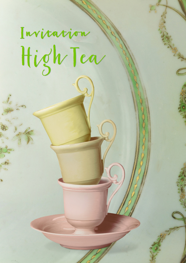 Uitnodigingen - Uitnodiging High Tea scrapbook 2 - SG