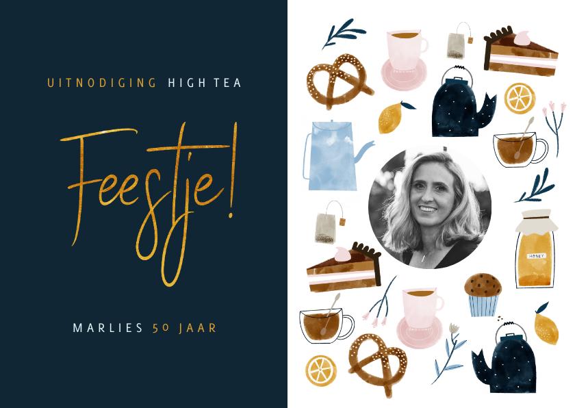 Uitnodigingen - Uitnodiging High Tea verjaardagsjubileum met foto