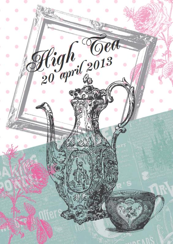 Uitnodigingen - Uitnodiging high tea vintage