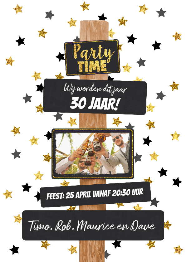 Uitnodigingen - Uitnodiging hippe feestelijke kaart met paal en krijtborden