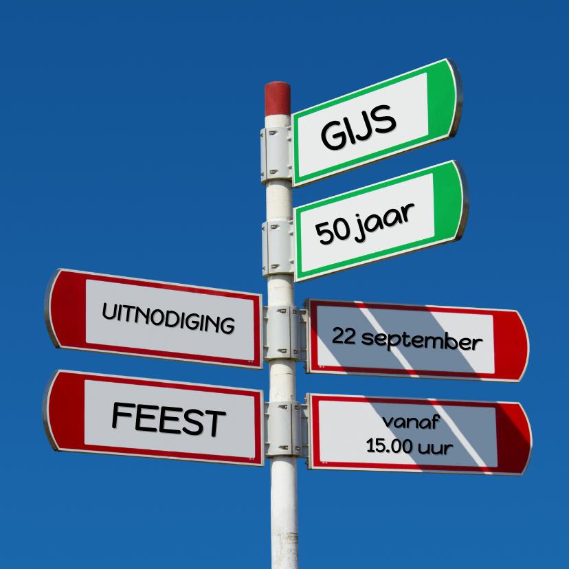 Uitnodigingen - Uitnodiging hippe Wegwijzer 4 verkeersbord