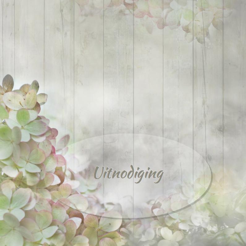 Uitnodigingen - Uitnodiging hortensia's op hout