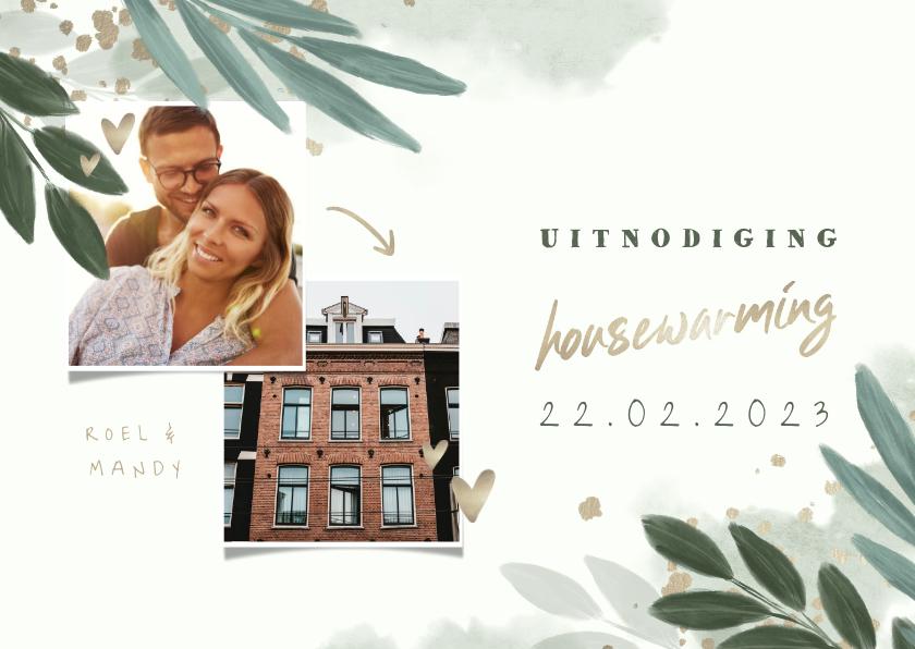 Uitnodigingen - Uitnodiging housewarming botanisch met gouden hartjes