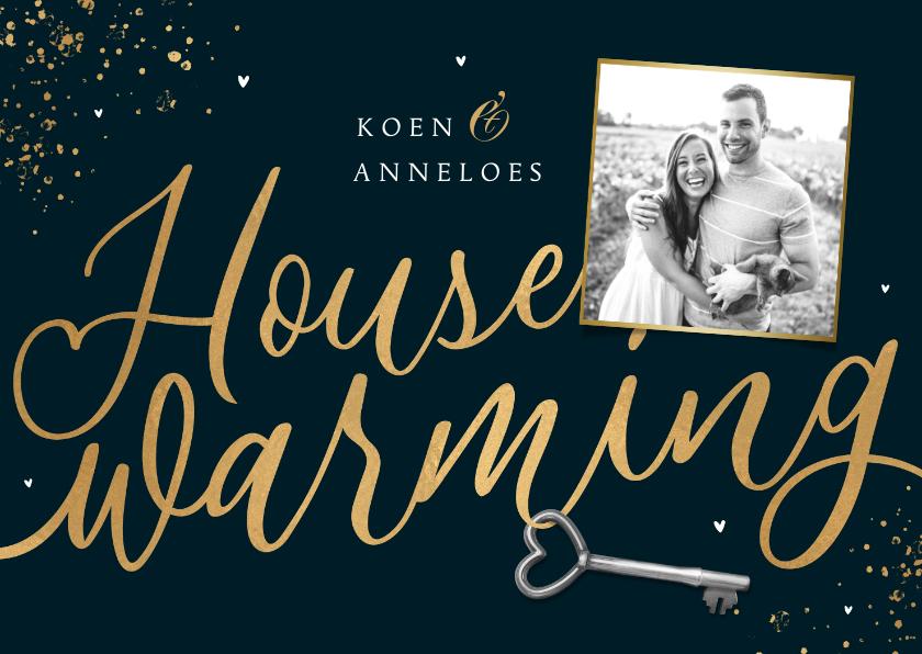 Uitnodigingen - Uitnodiging housewarming goud spetters sleutel foto