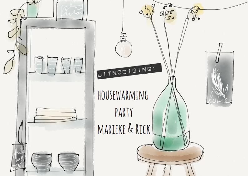 Uitnodigingen - Uitnodiging housewarming Hip