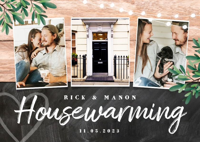 Uitnodigingen - uitnodiging housewarming hout krijt planten foto's