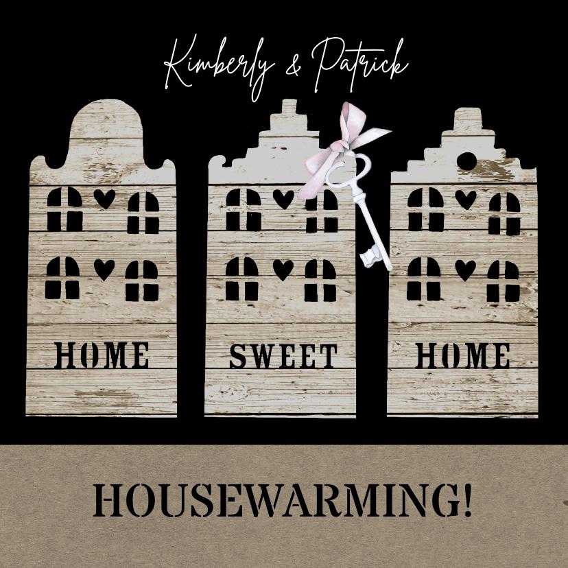 Uitnodigingen - Uitnodiging housewarming houten huisjes