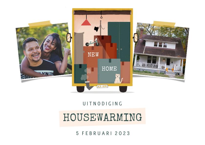 Uitnodigingen - Uitnodiging housewarming met foto en verhuiswagen