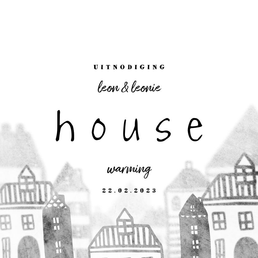Uitnodigingen - Uitnodiging housewarming met huisjes diepte