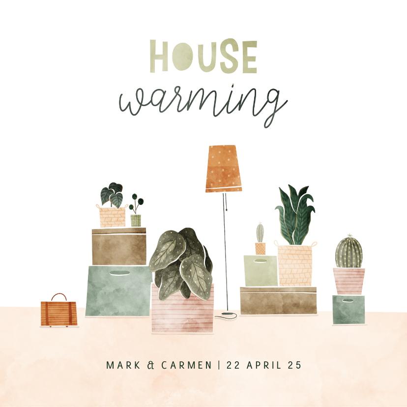 Uitnodigingen - Uitnodiging housewarming met plantjes en verhuisdozen