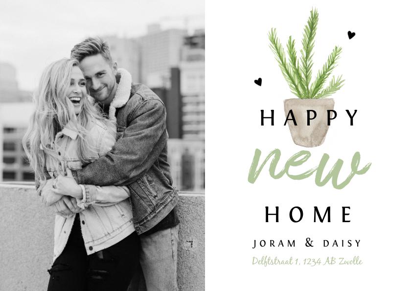 Uitnodigingen - Uitnodiging housewarming met waterverf plantje en eigen foto