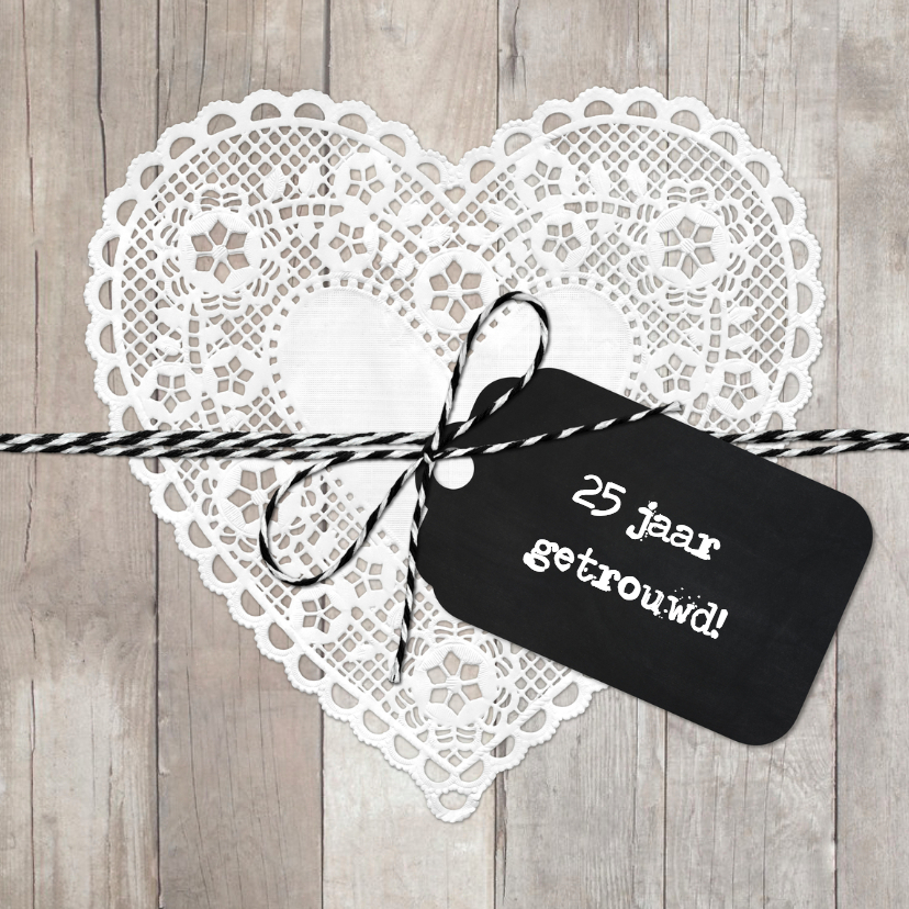 Uitnodigingen - Uitnodiging Huwelijksjubileum Doily Hart