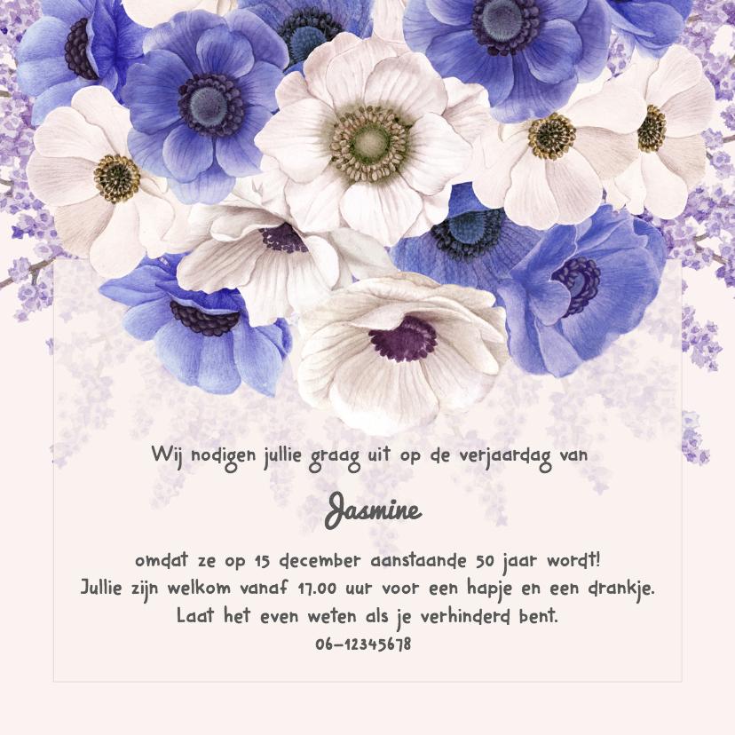 Uitnodigingen - Uitnodiging jarig anemonen paars