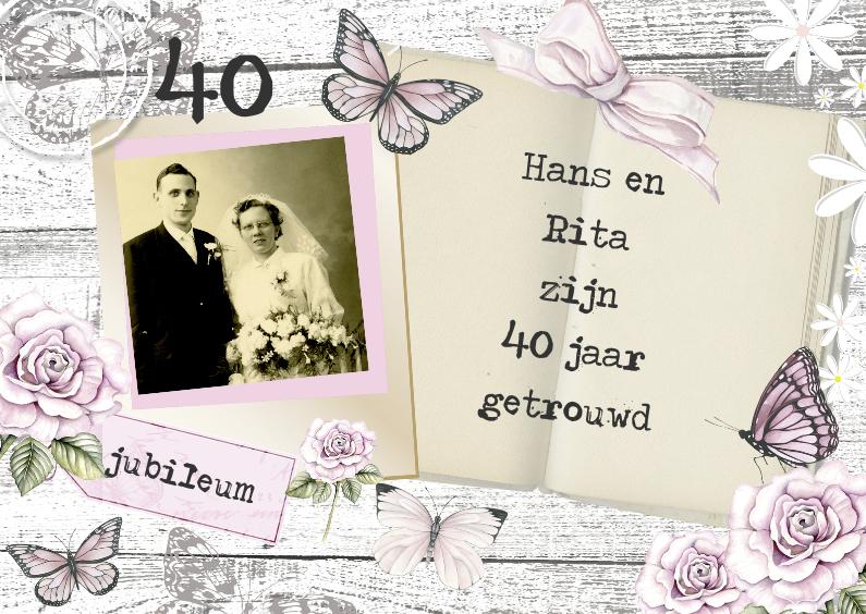 Uitnodigingen - uitnodiging jubileum hout en vlinders
