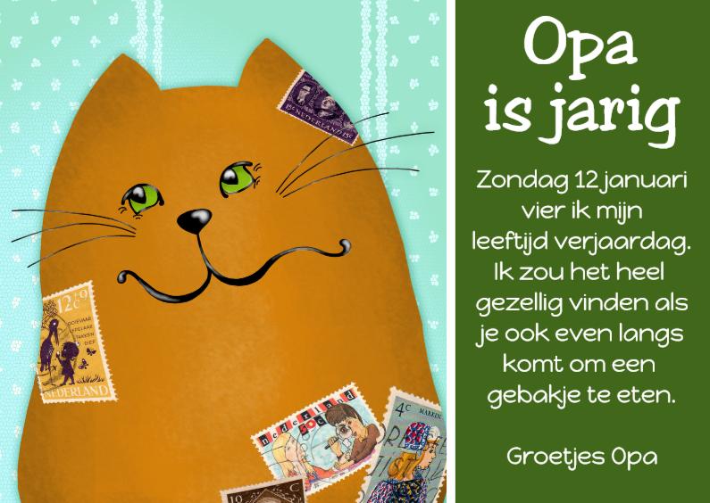 Uitnodigingen - Uitnodiging kat Opa of Papa