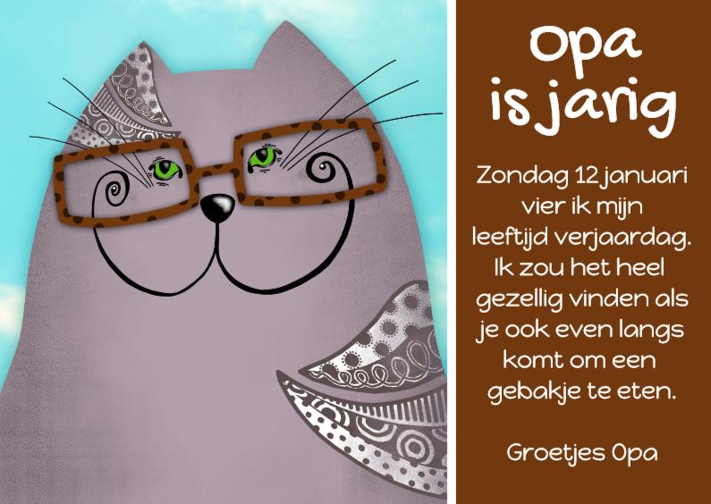 Uitnodigingen - Uitnodiging kat Opa