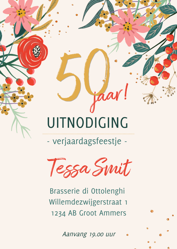 Uitnodigingen - Uitnodiging kleurrijke bloemen met glitterlook